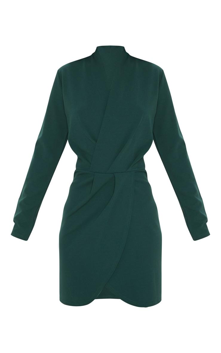 Emerald Green Wrap Front Bodycon Dress 3