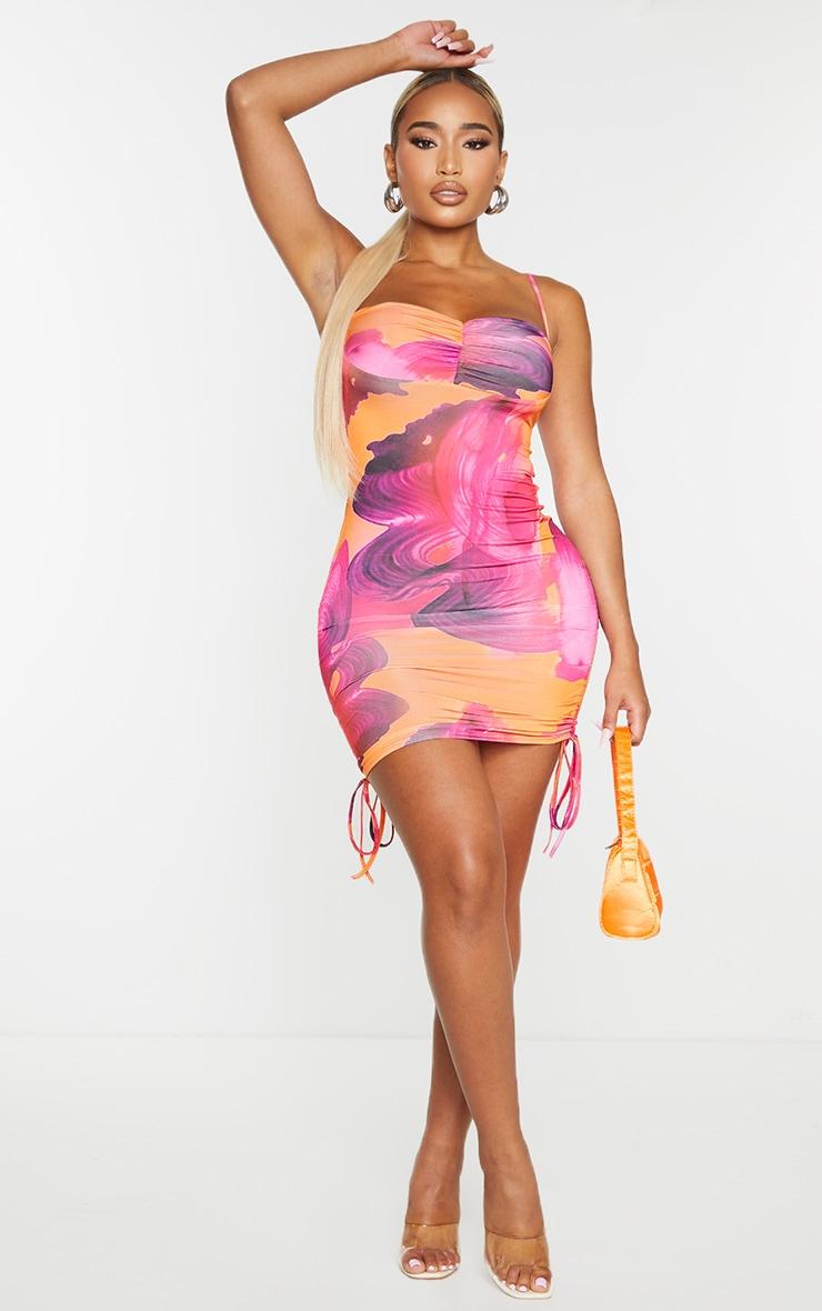 Shape Pink Swirl Print Slinky Ruched Side Bodycon Dress 3
