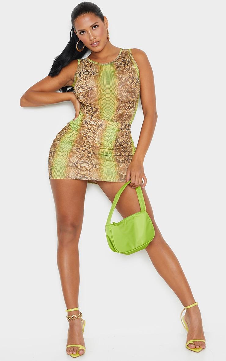 Shape Lime Snake Print Mesh Bodycon Skirt 1