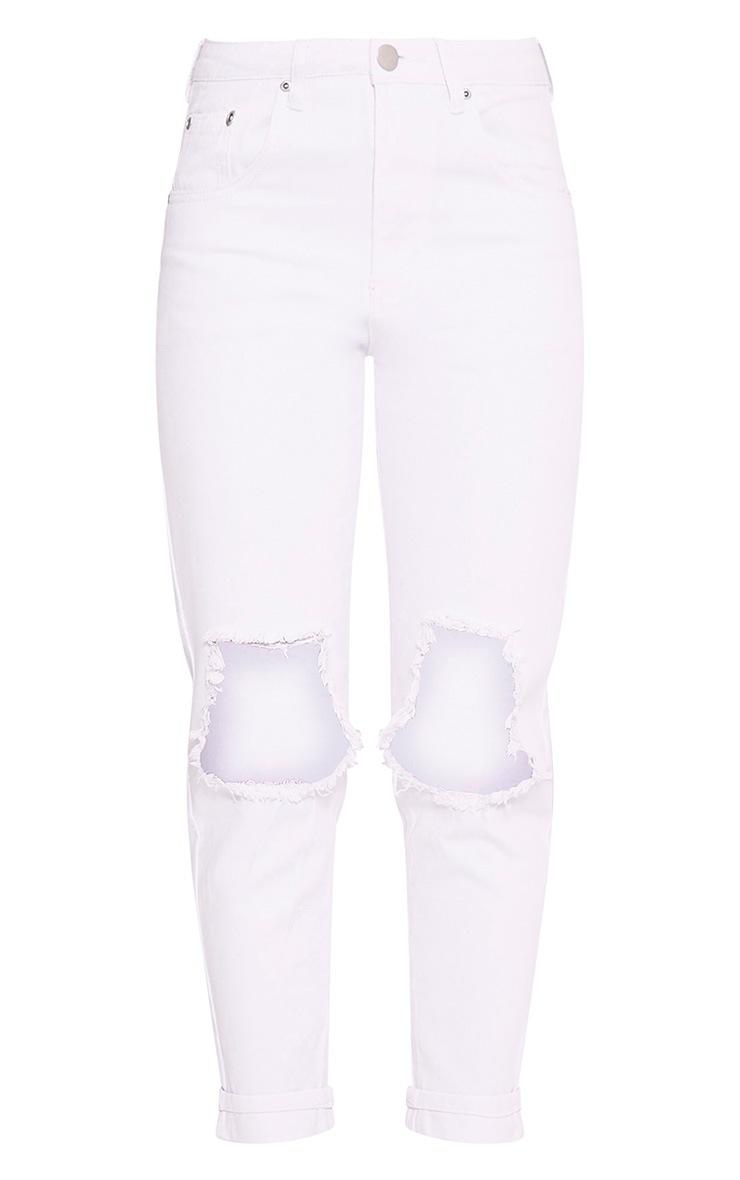 White Open Knee Rip Mom Jean 3