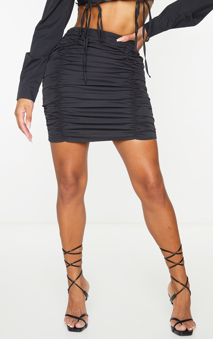Shape Black Ruched Bodycon Skirt 2