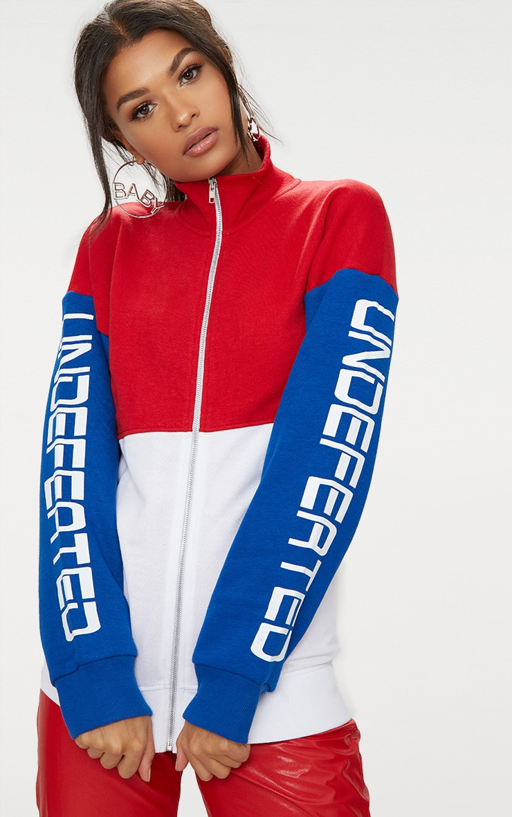 Red Slogan Arm Zip Up Sports Jacket 1