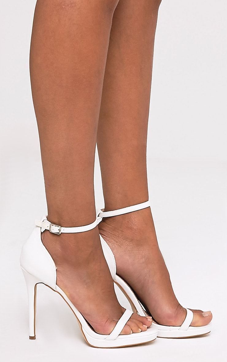Enna White Single Strap Heeled Sandals