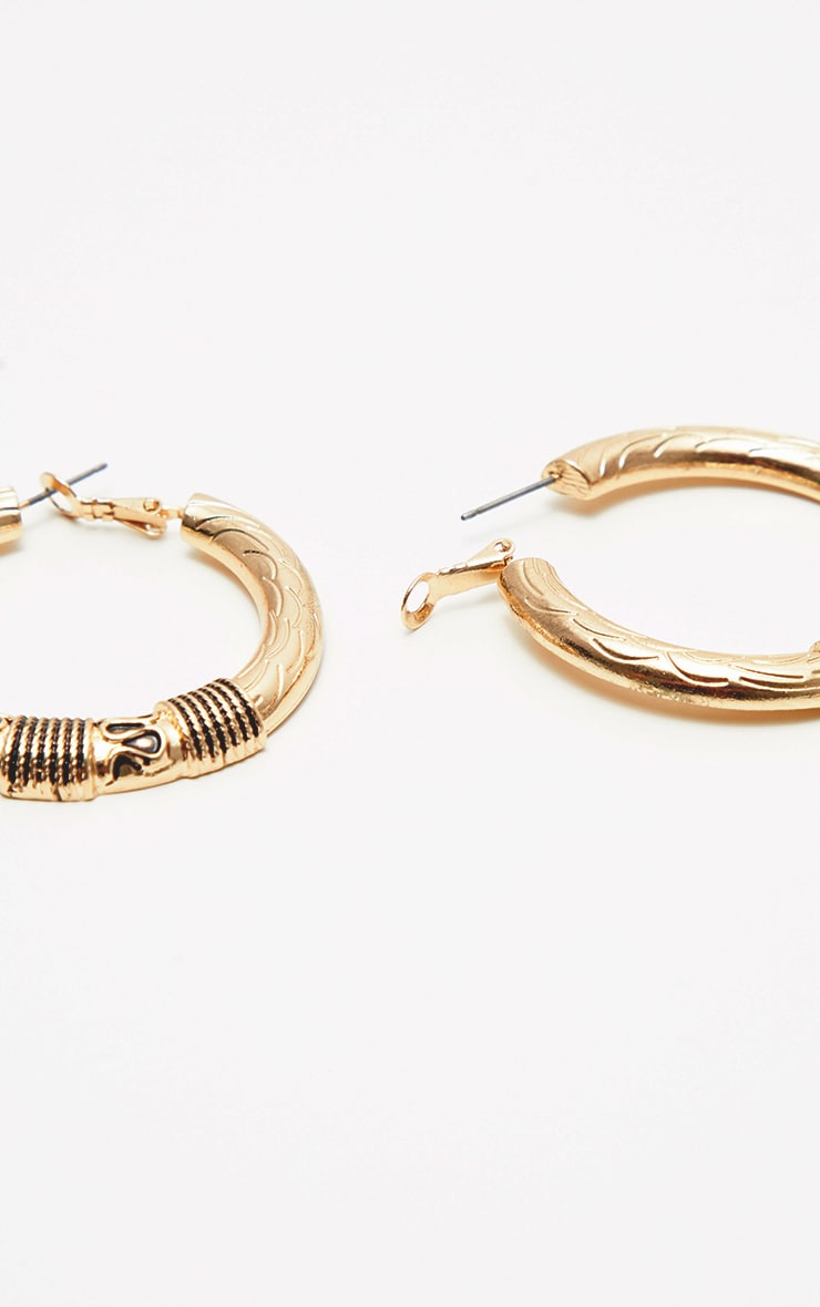 Gold Medium Rope Textured Wrapped Hoop Earrings 3