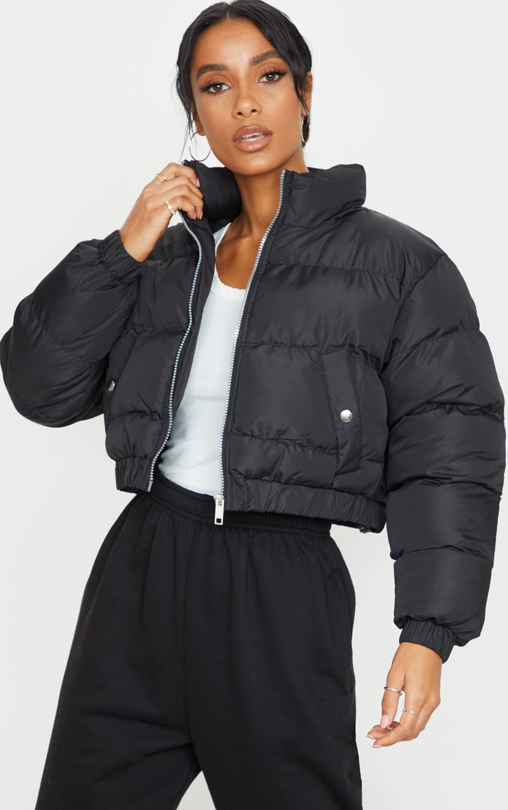 Black Cropped Bubble Button Down Puffer Jacket 1