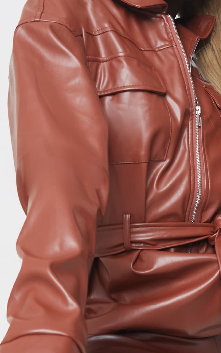 Tall Chocolate Faux Leather Belt Detail Jacket 4