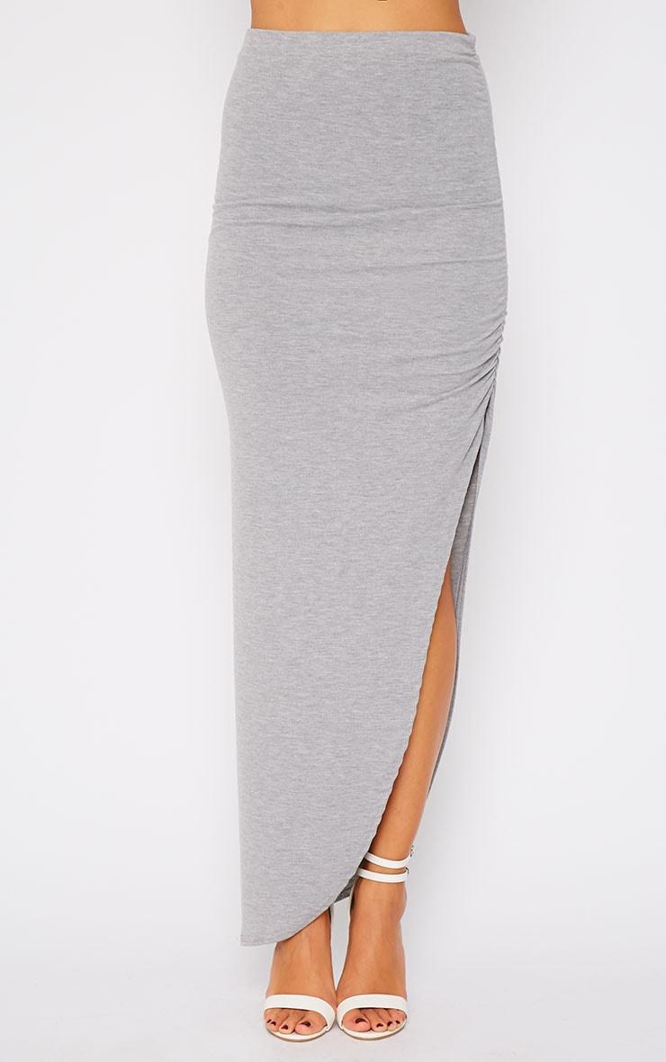 Etta Grey Ruched Jersey Maxi Skirt 5
