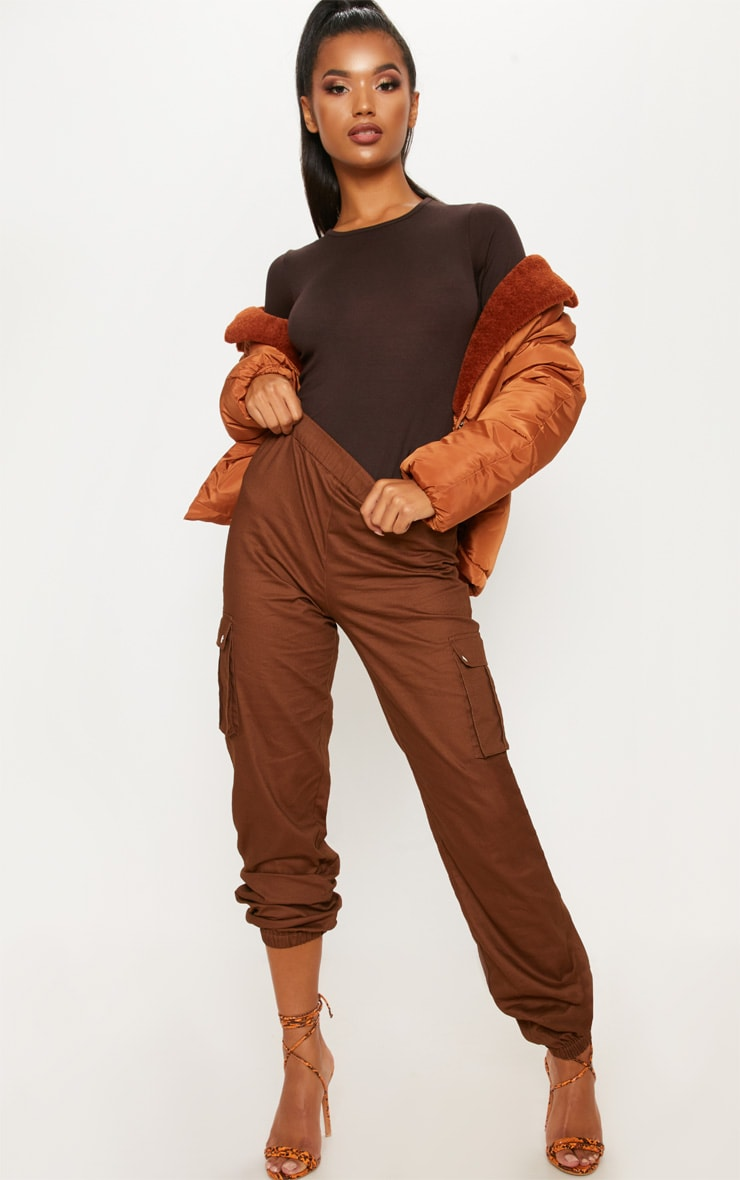 Basic Chocolate Crew Neck Long Sleeve Bodysuit 2
