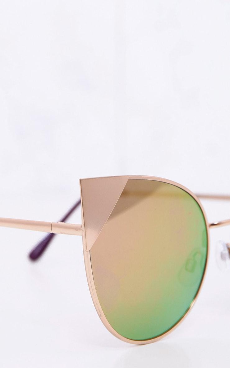 Rei lunettes de soleil effet miroir yeux de chat dorées 3