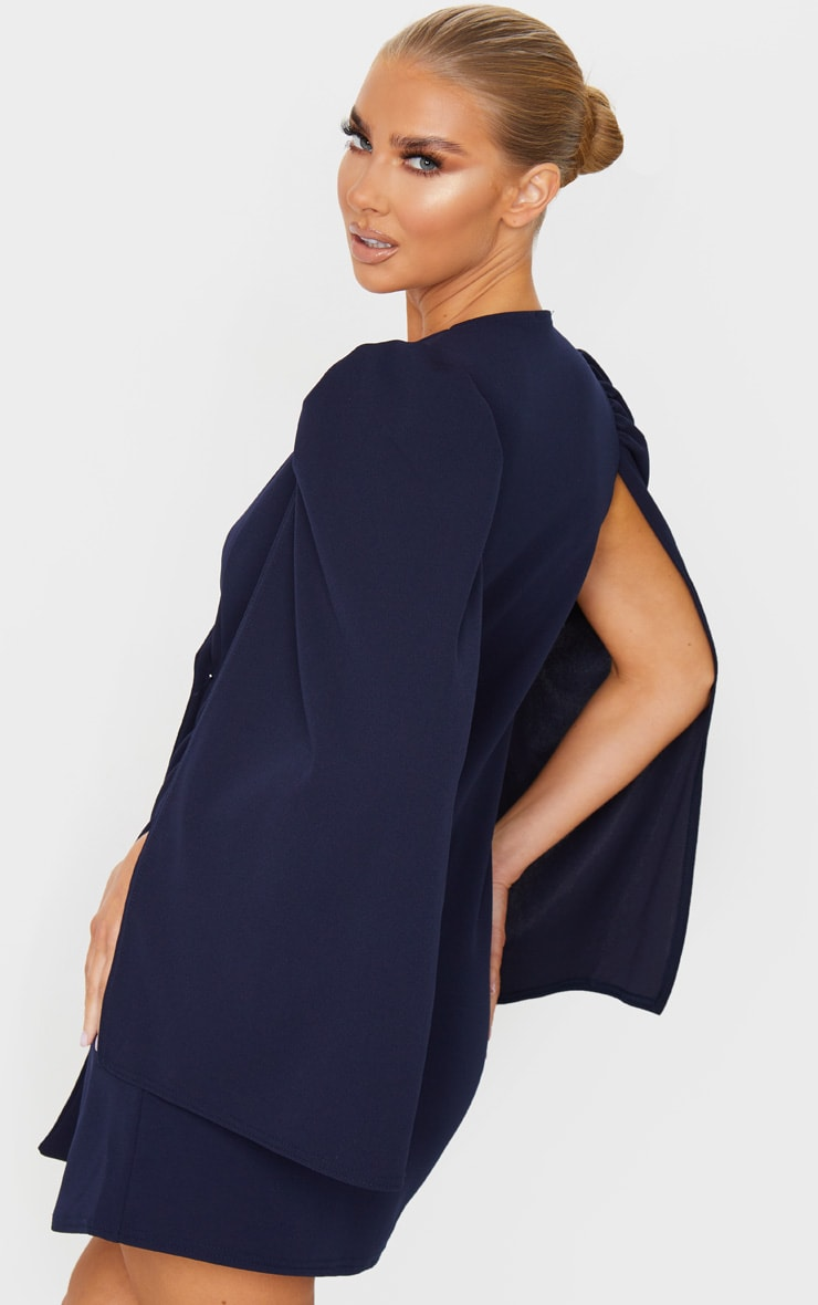 Navy Cape Button Detail Blazer Dress 2