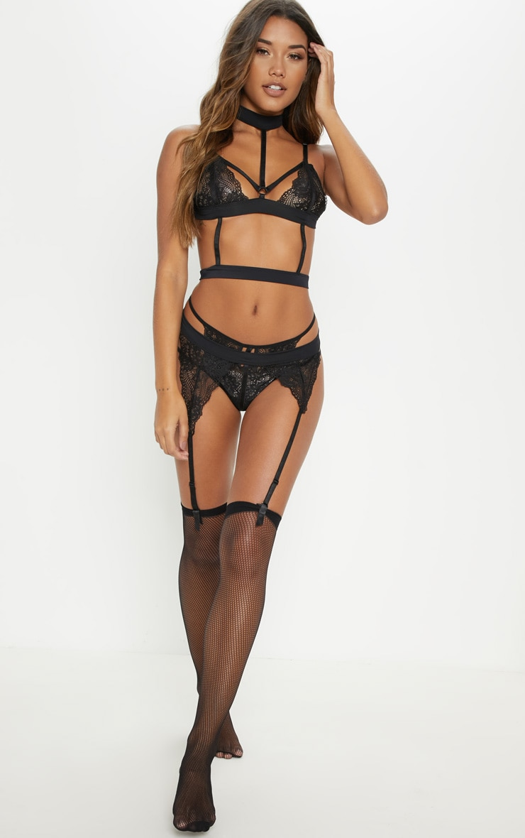 Black Lace Strappy Choker Full Lingerie Set 3