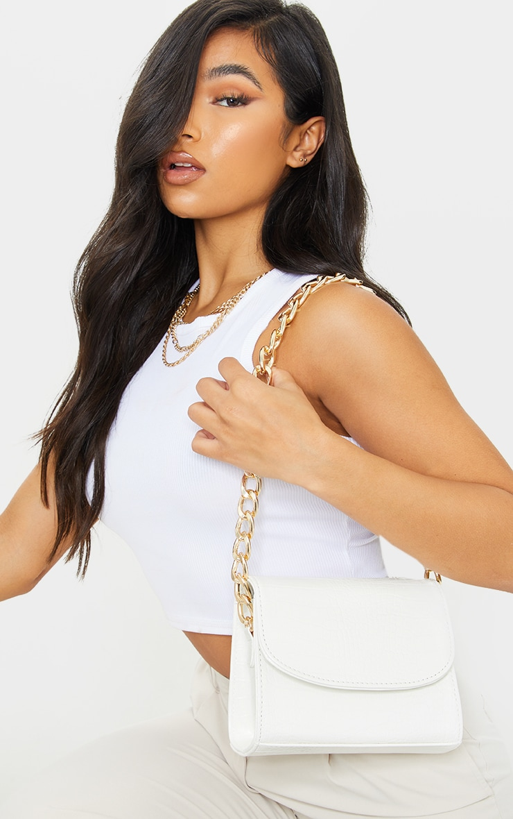 White Croc Chunky Chain Shoulder Bag 1