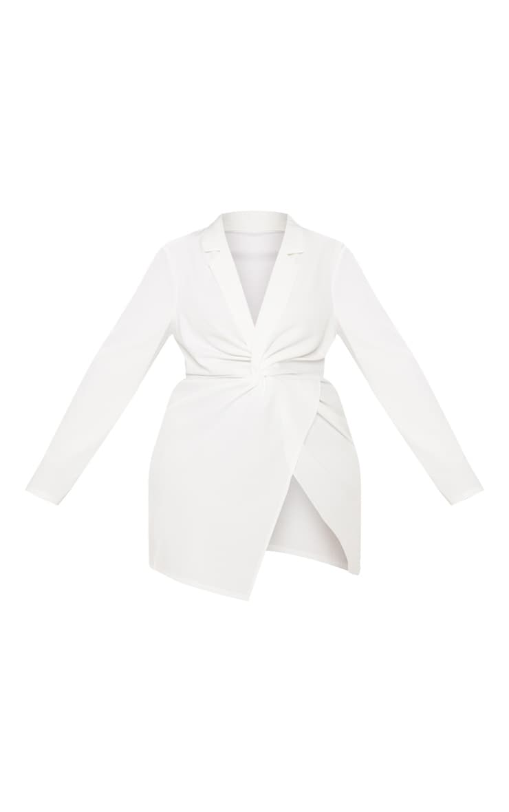 Plus White Twist Front Shirt Dress 3