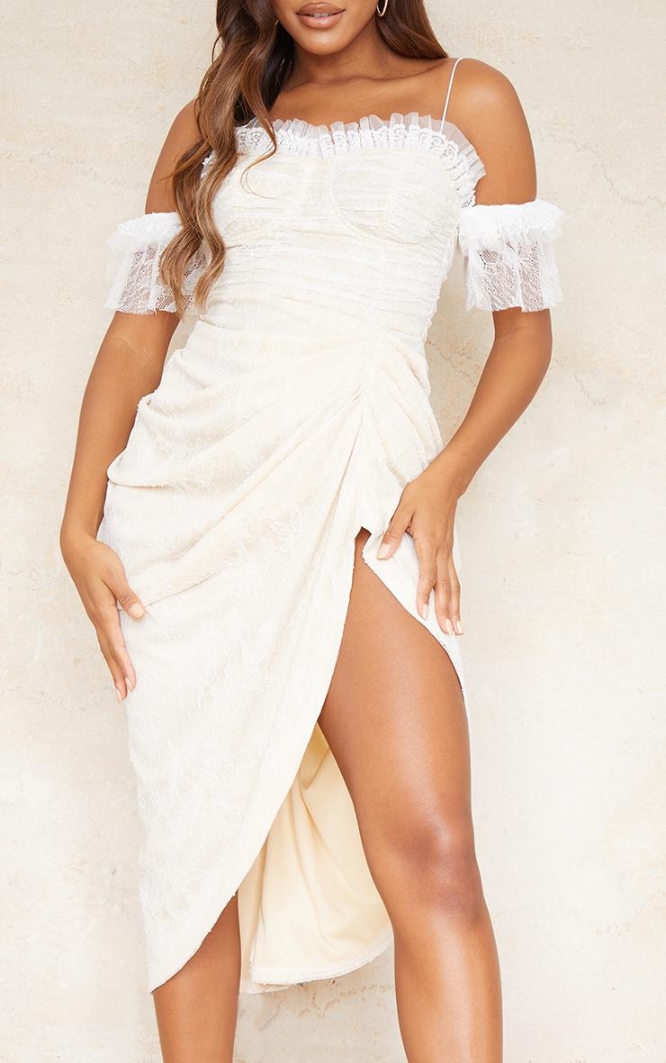 White Lace Frill Sleeve Draped Midi Dress 4