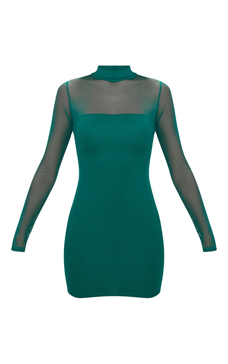 Emerald green High Neck Mesh Panel Bodycon Dress  3