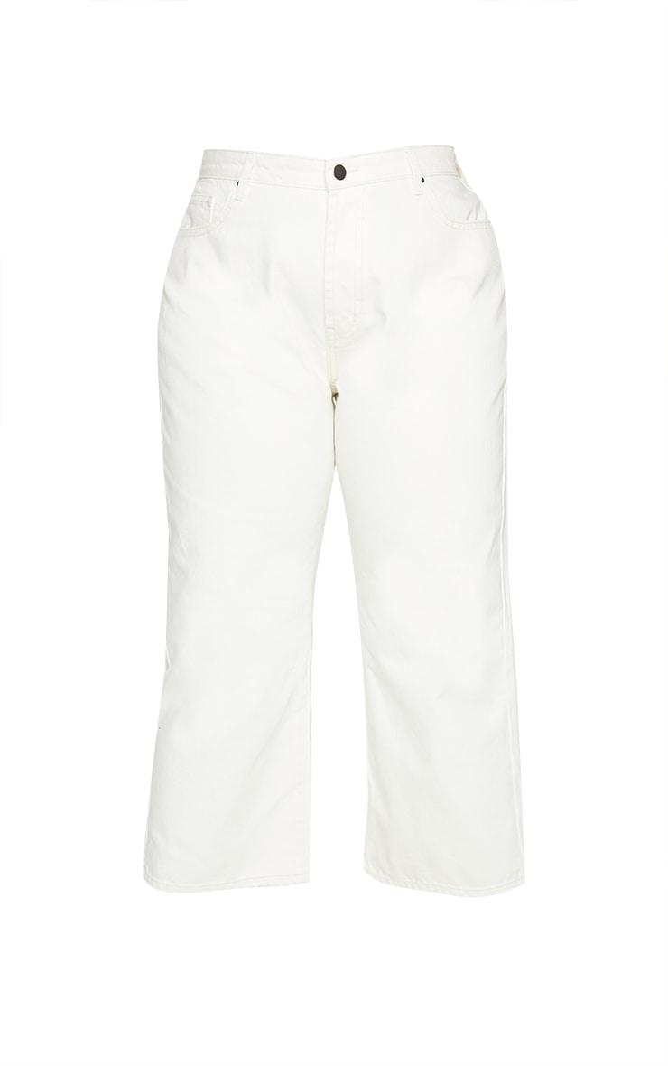 Plus Cream Wide Leg Denim Cropped Jeans 5