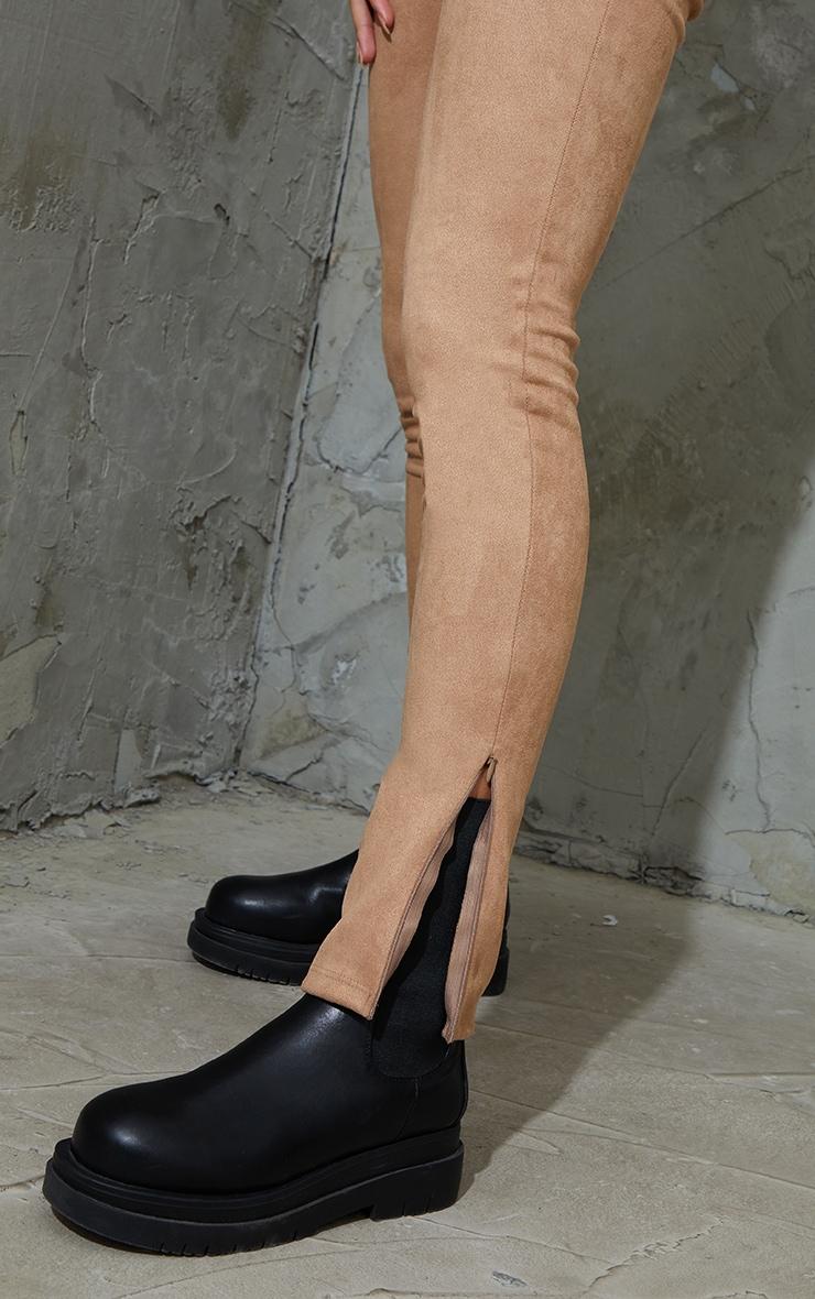 Tan Faux Suede Zip Split Hem Leggings 4