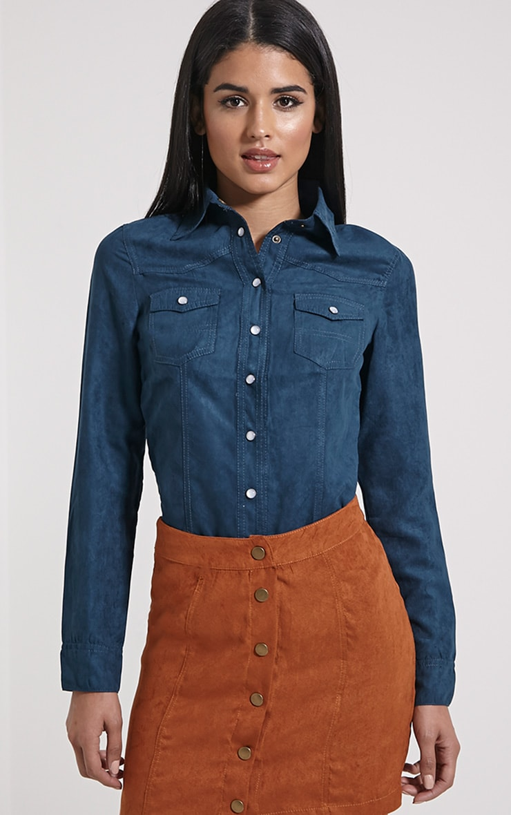 Asha Teal Faux Suede Fitted Shirt 1