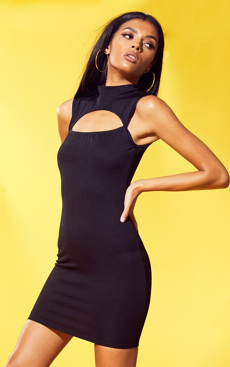 Black Crepe High Neck Cut Out Bodycon Dress 1