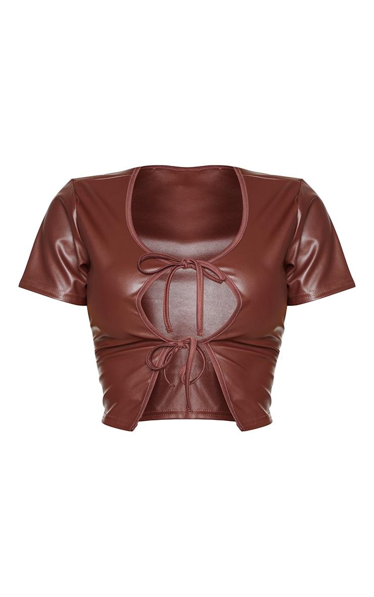 Shape Chocolate PU Tie Detail Crop Top 5