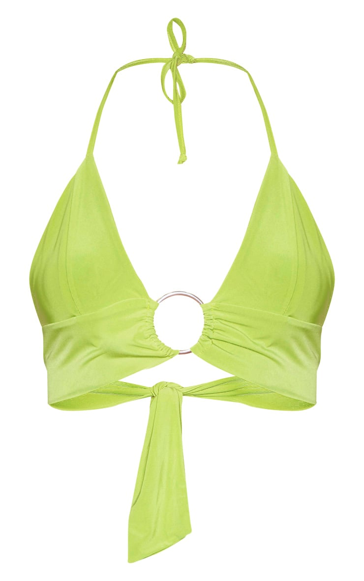 Bralette décolletée vert citron à détail anneau  3