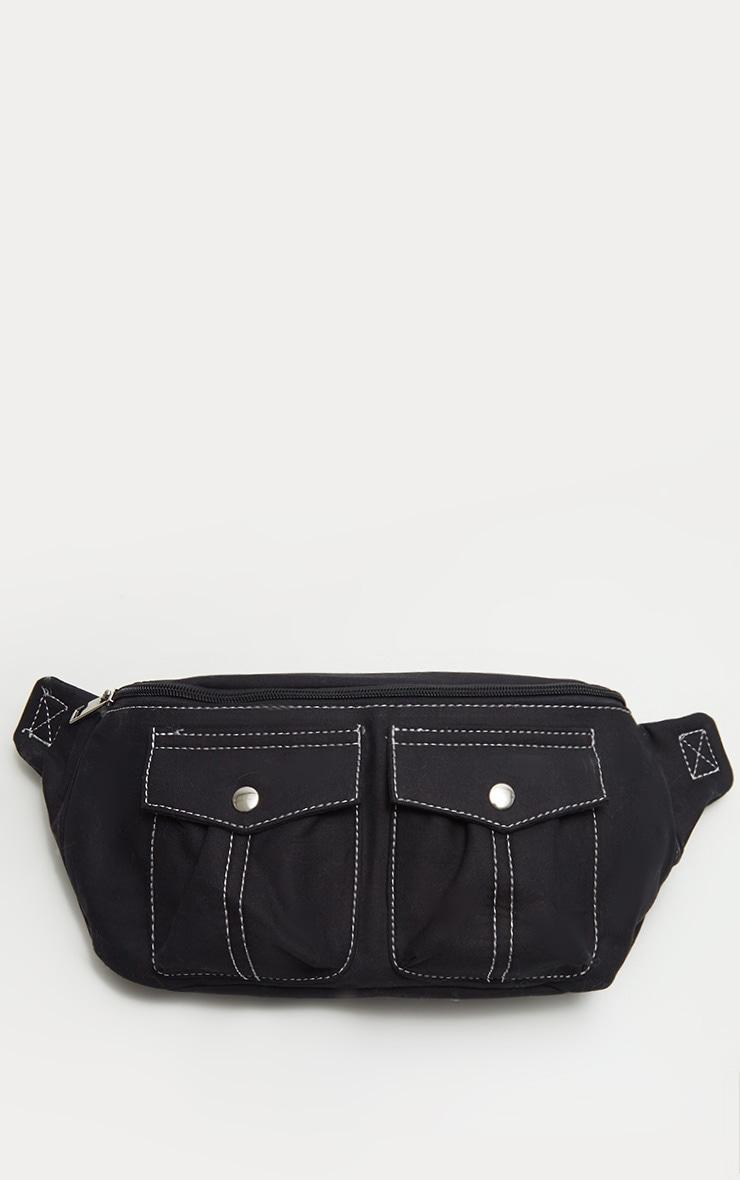 Black Contrast Stitching Bum Bag 2