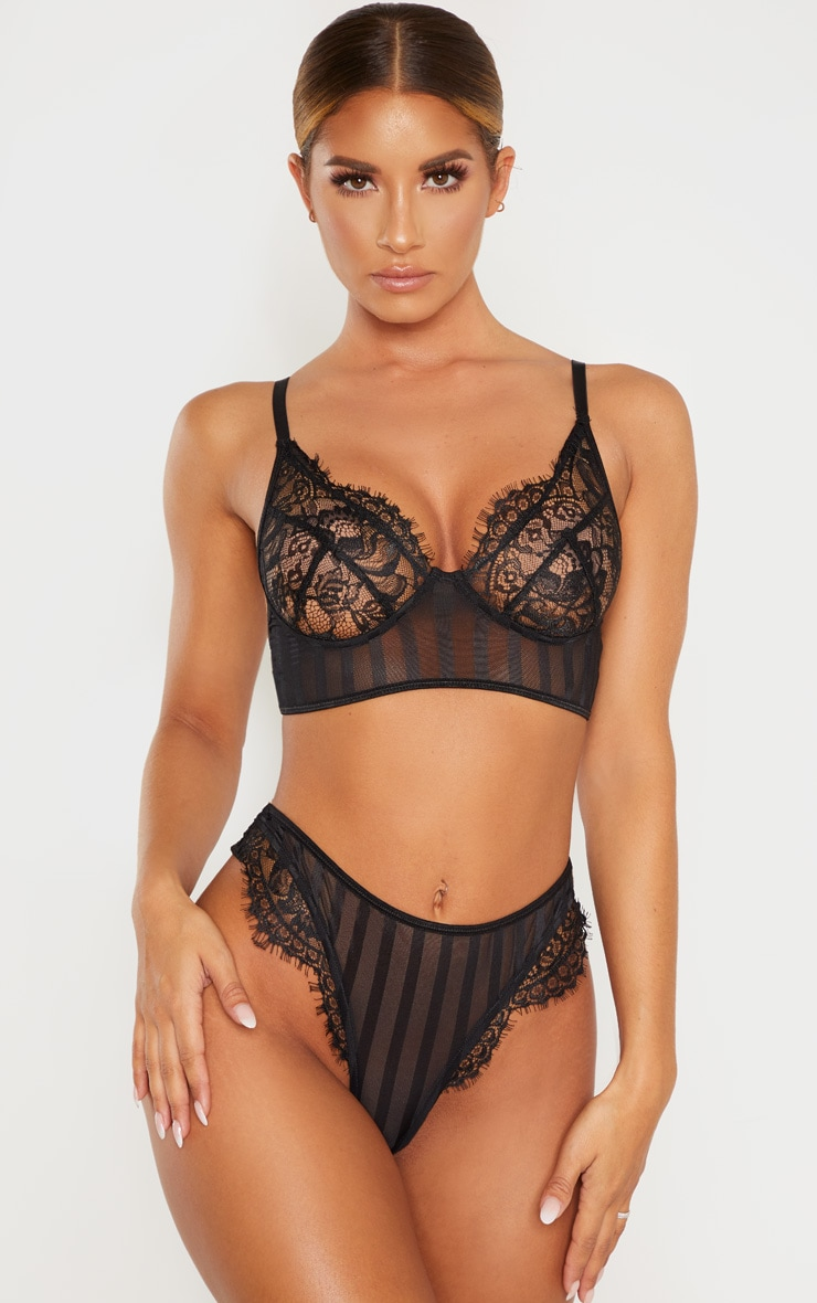 Black Striped Lace Bralette 1