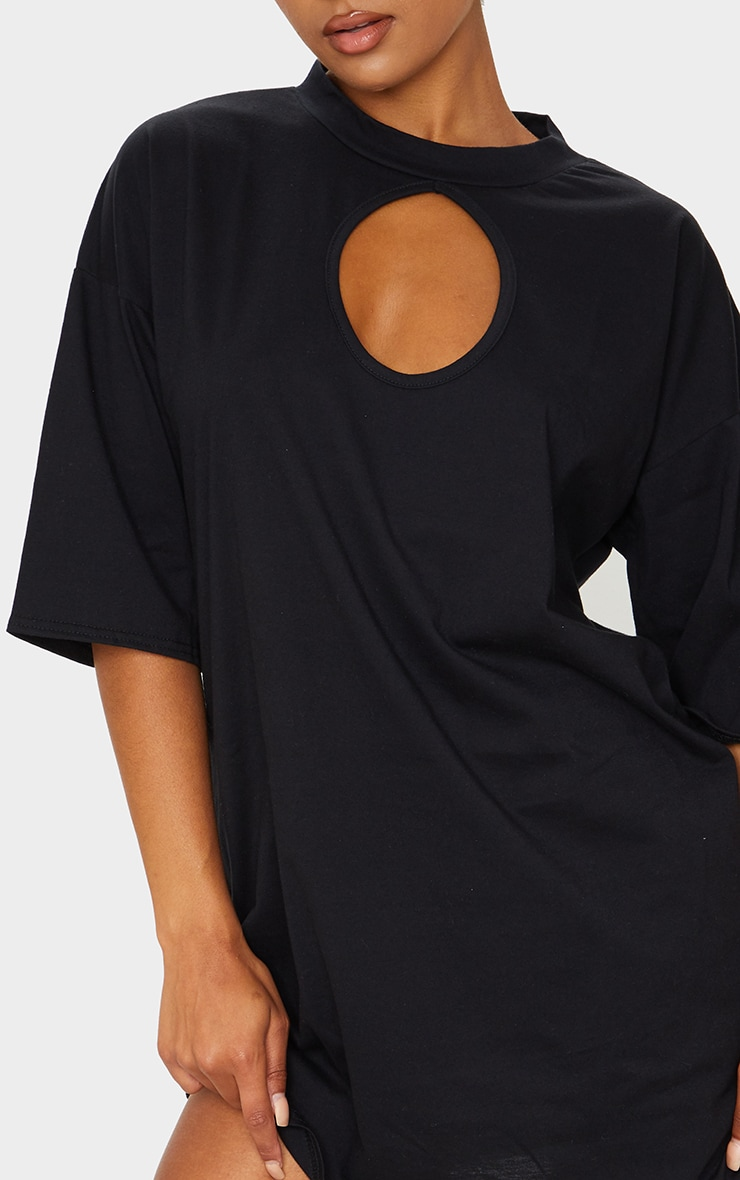 Black Keyhole Bust Detail T Shirt Dress 4
