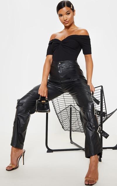 Black Bardot Twist Front Bodysuit
