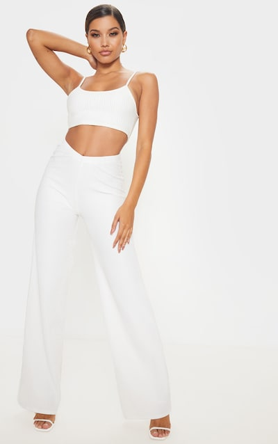 Cream Pleated Detail Wide Leg Trousers