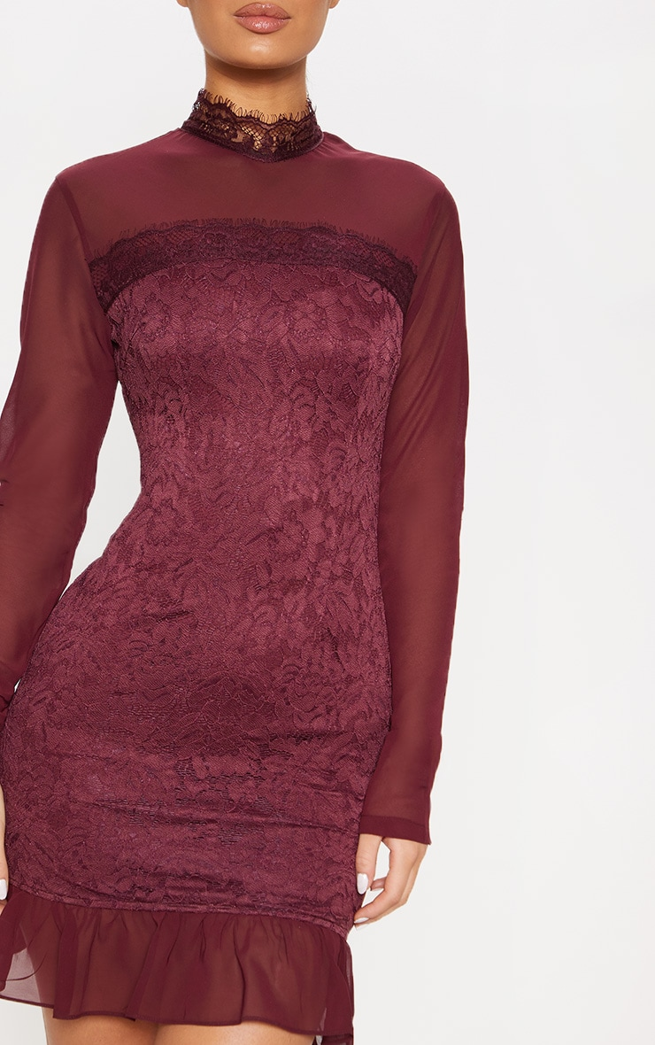 Burgundy High Neck Lace Long Sleeve Bodycon Dress 5
