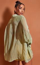 Green Textured Stripe Woven Oversized Shirt 2