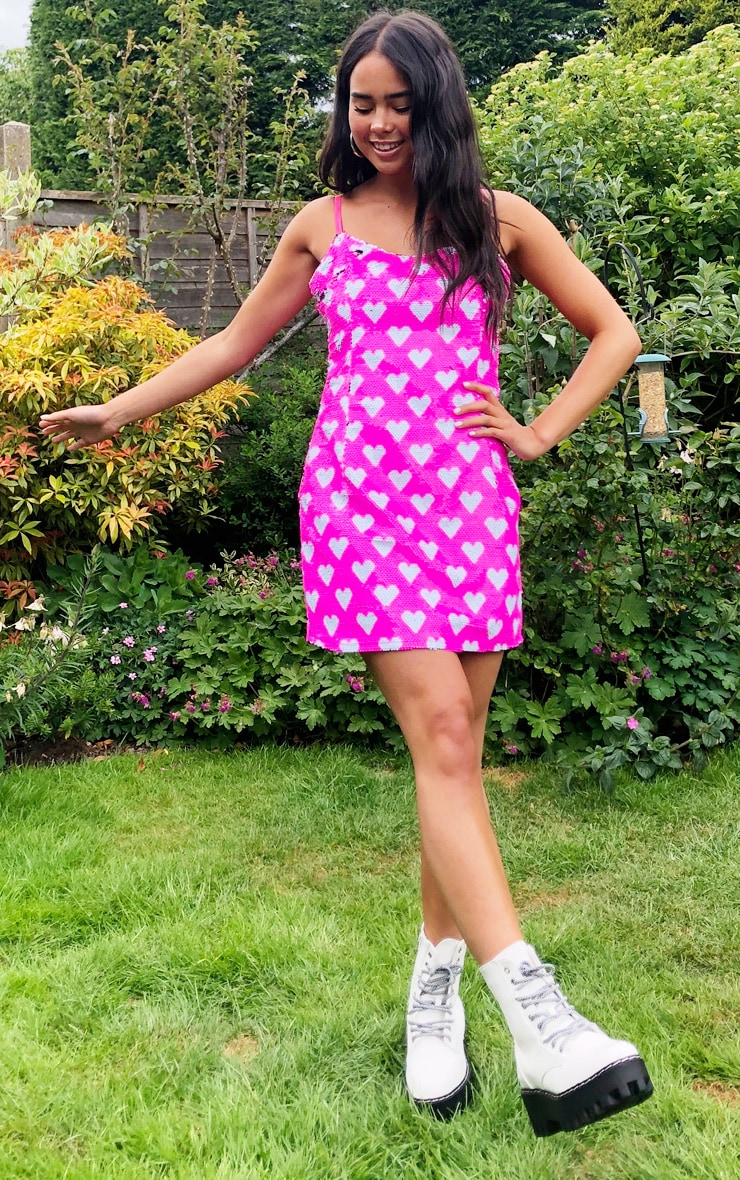 Pink Love Heart Sequin Strappy Bodycon Dress 3