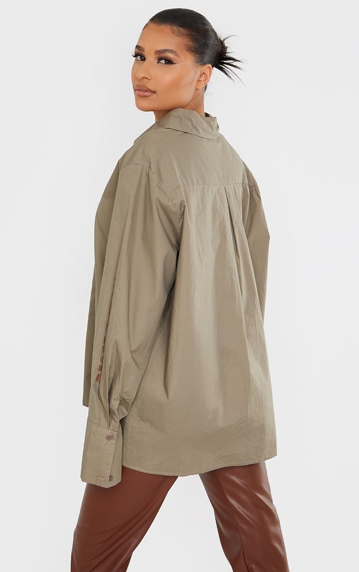PRETTYLITTLETHING Stone Oversized Cuff Shirt 2