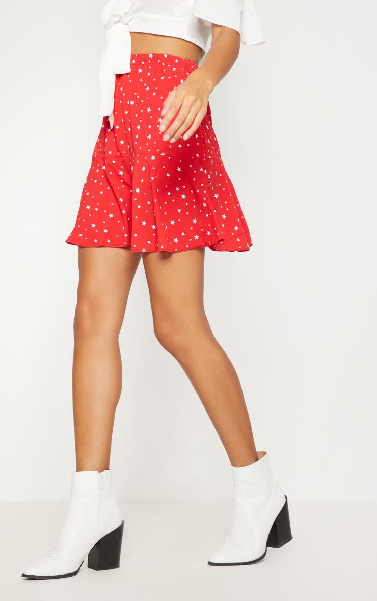 Red Star Print Frill Hem Mini Skirt  2