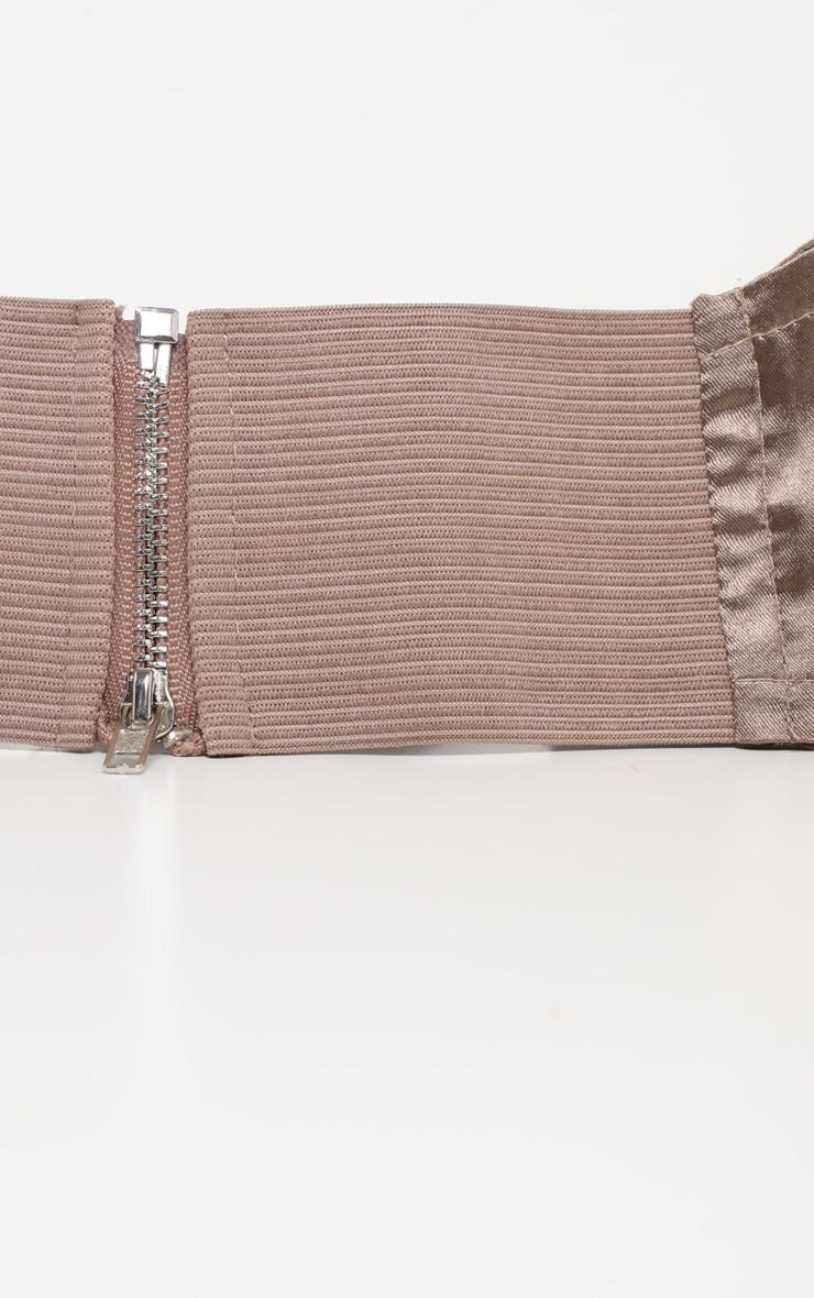 Taupe Satin Corset Waist Belt 3