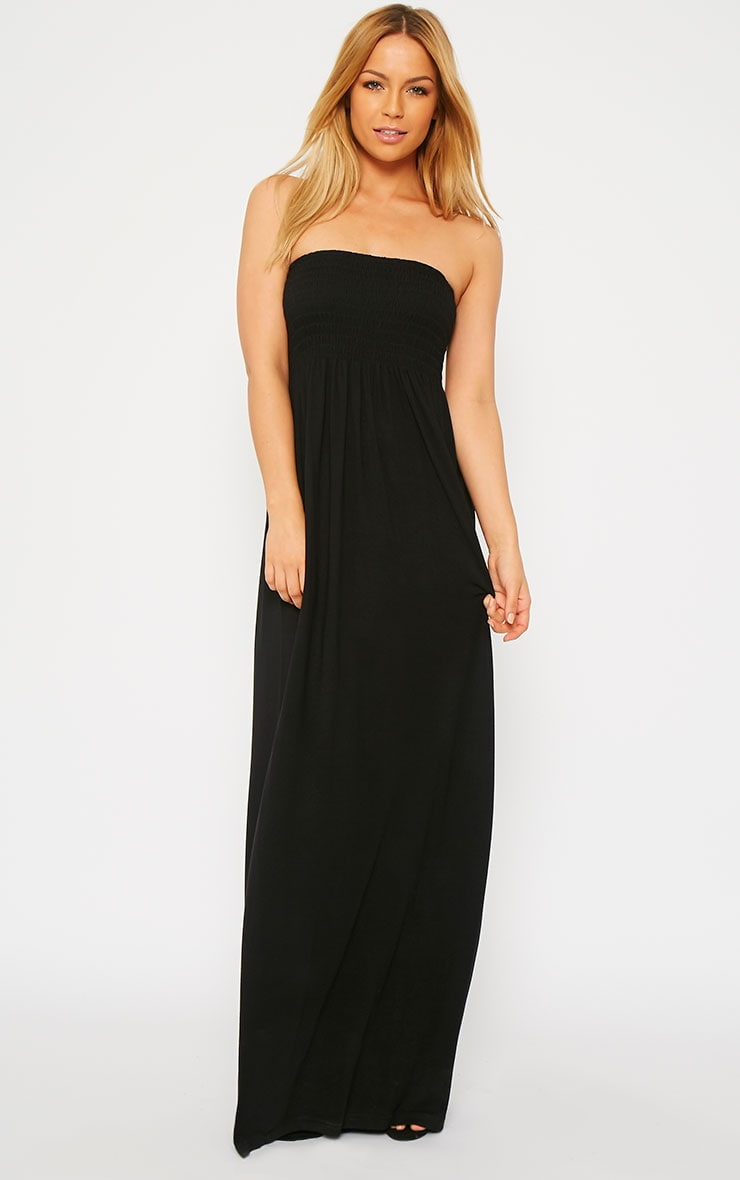 Tamara Black Elasticated Bandeau Jersey Maxi Dress 1