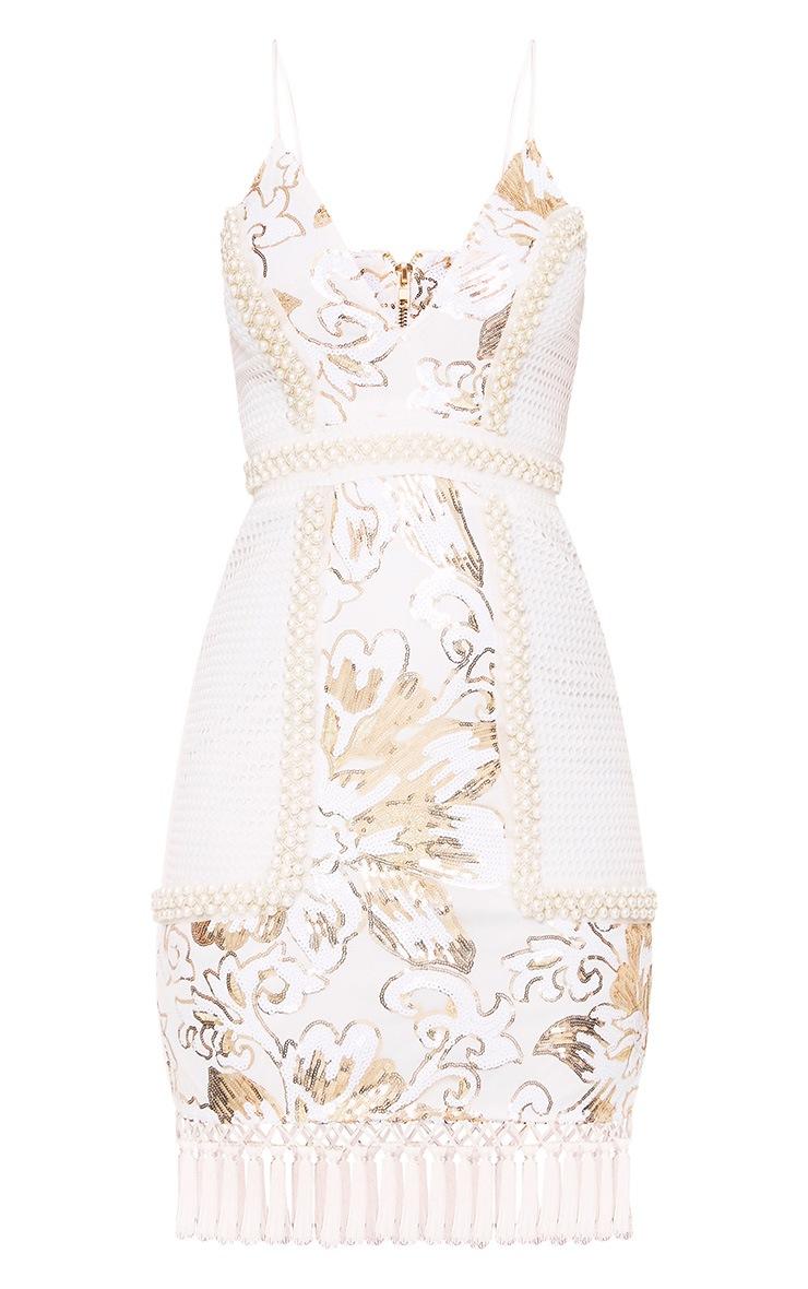 Ana White Premium Strappy Plunge Tassel Sequin Mini Dress 3