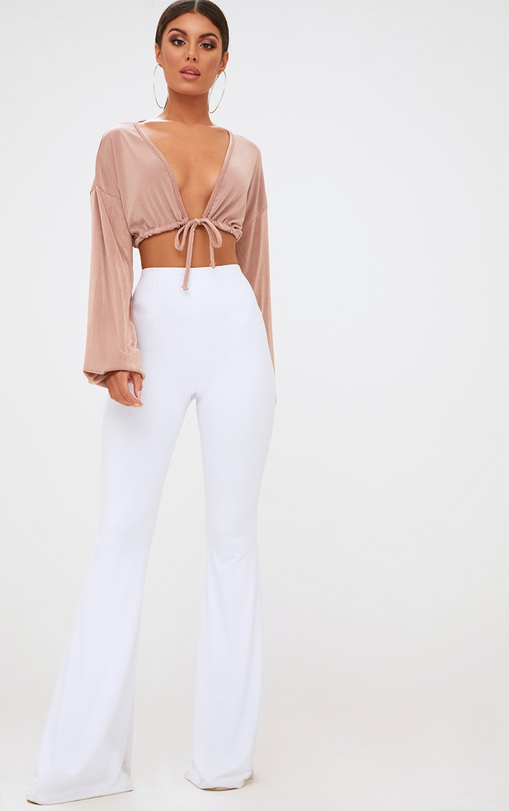 Blush Slinky Drawstring Blouson Sleeve Crop Top 4