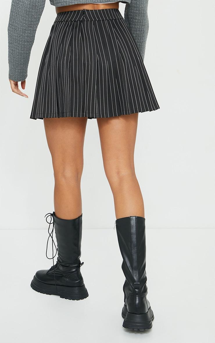 Black Pinstripe Woven Pleated Tennis Skirt 4