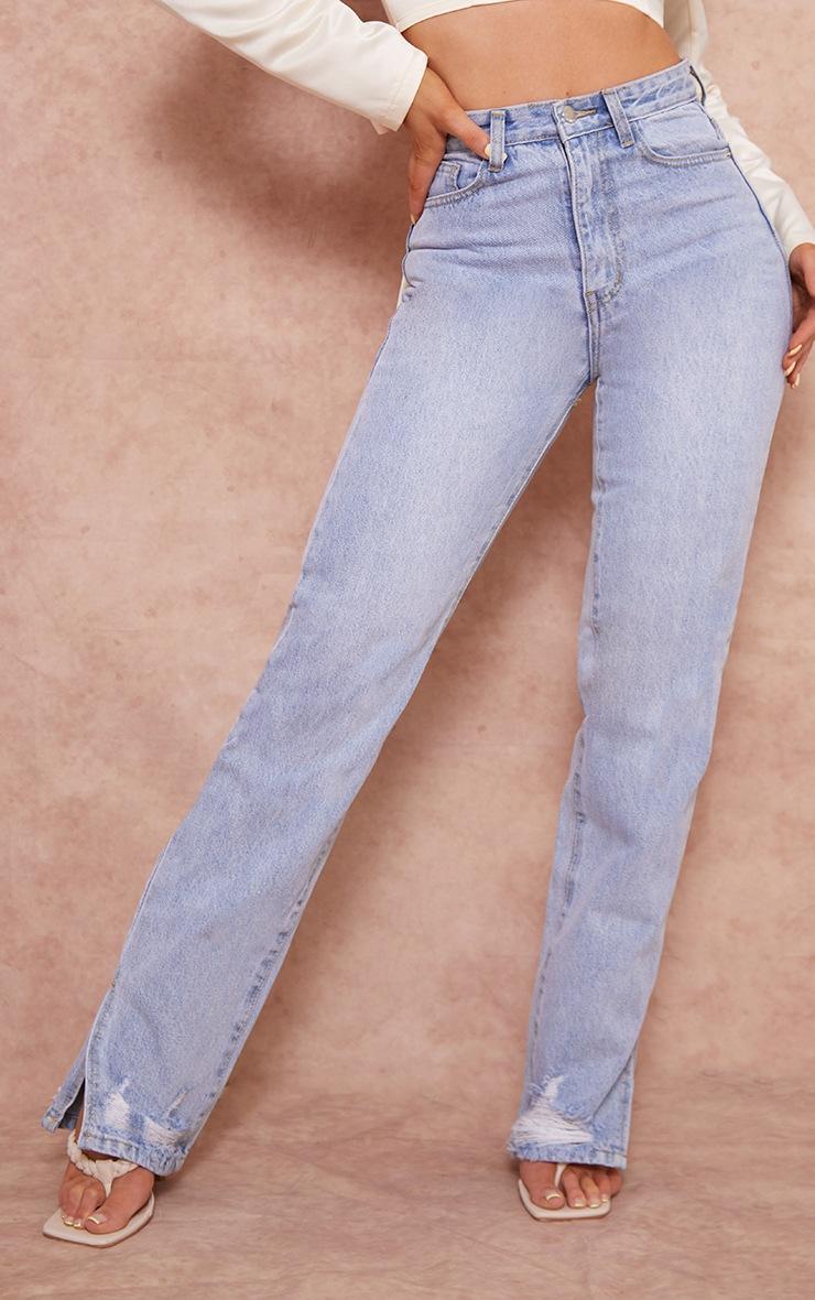 Light Blue Wash Distressed Split Hem Straight Leg Jeans 2