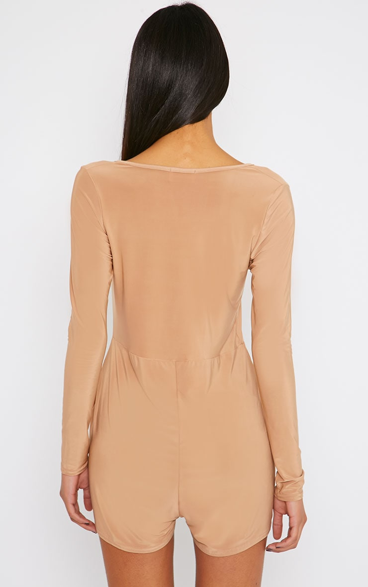 Tilly Camel Slinky Wrap Over Playsuit 2