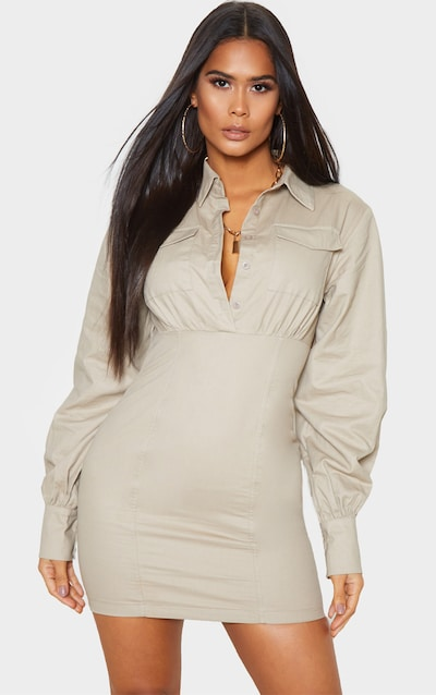 Stone Pocket Front Long Sleeve Bodycon Shirt Dress