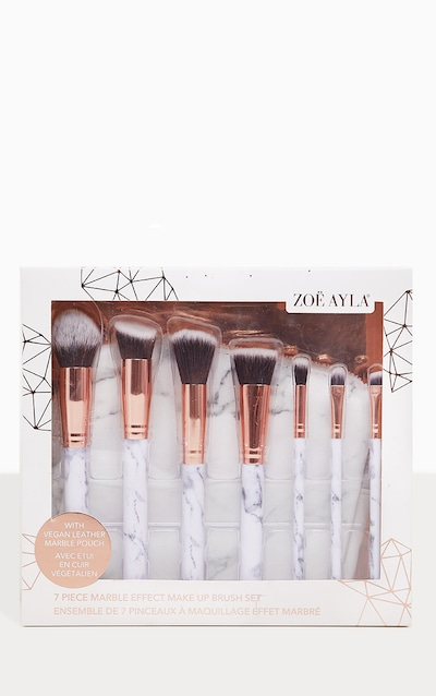Zoe Ayla 7 Piece Marble Effect Make Up Brush Set with Leather Pouch