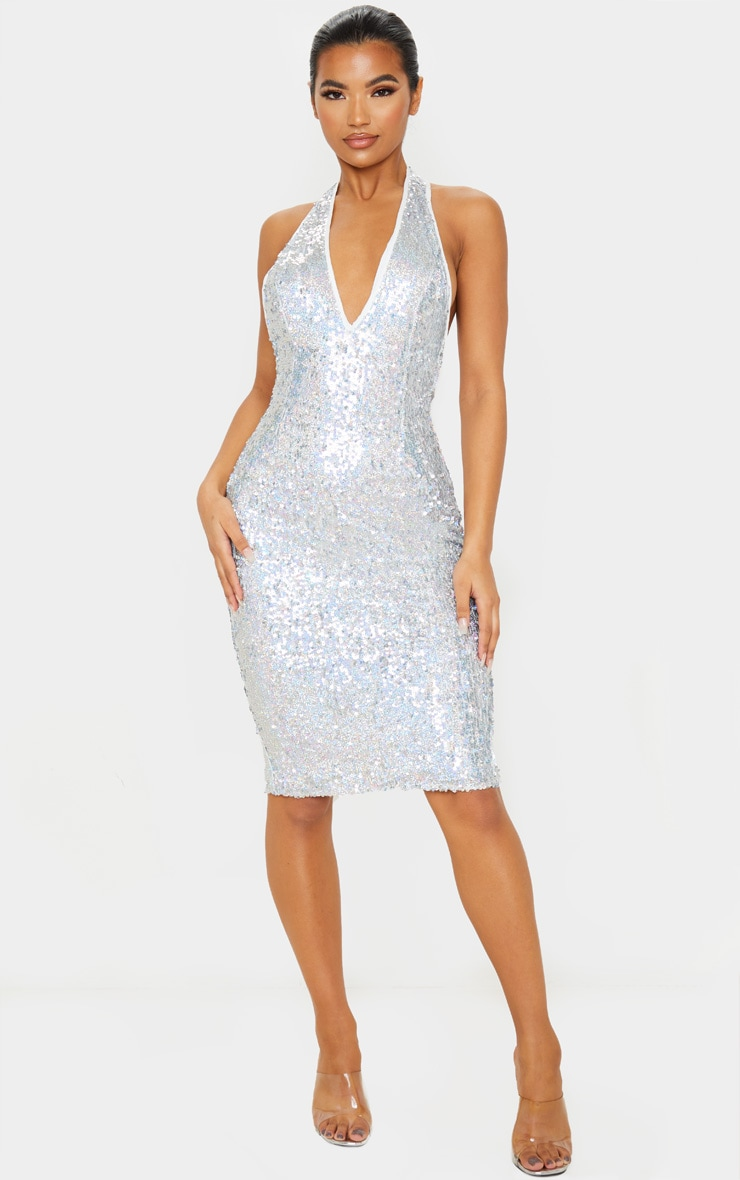 Silver Sequin Midi Dress 4