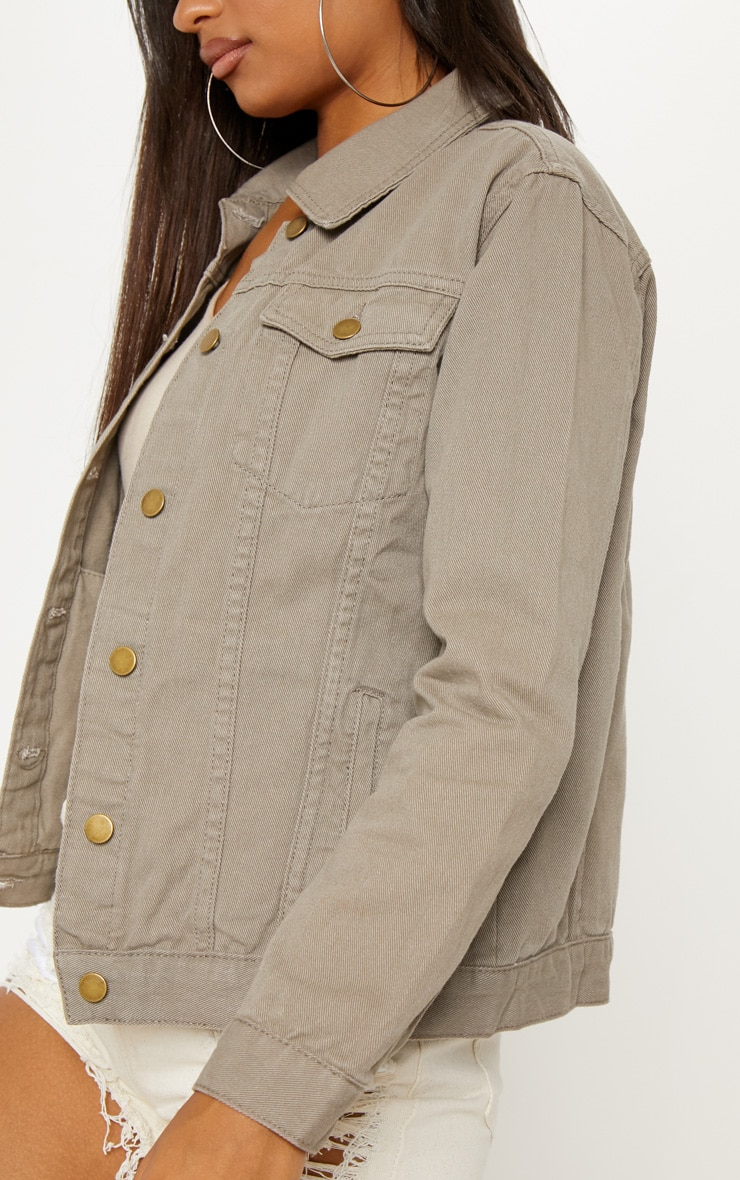 Taupe Oversized Denim Jacket  4