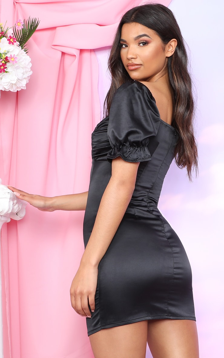 Black Satin Puff Sleeve Bow Detail Bodycon Dress 2