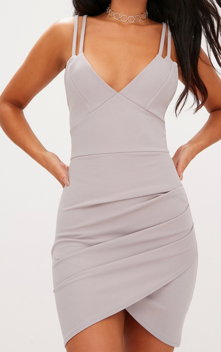 Ice Grey Double Strap Wrap Skirt Bodycon Dress 4