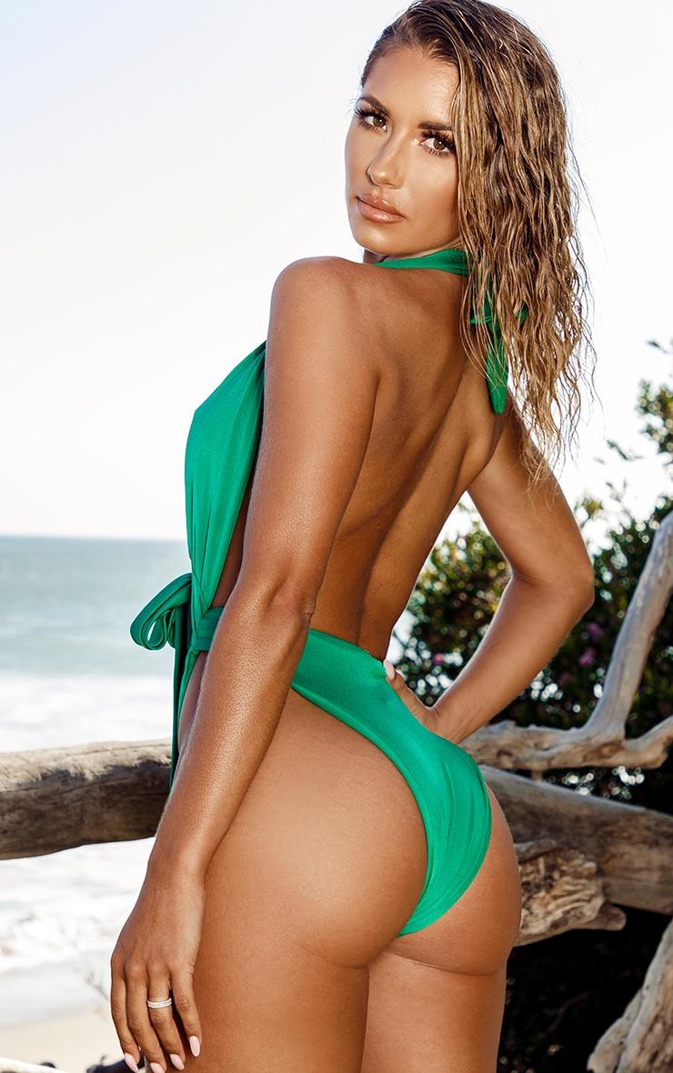 Green Halterneck Tie Waist Swimsuit 6