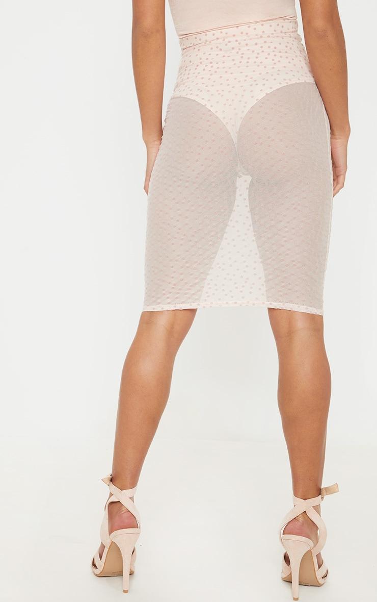 Petite Nude Mesh Polkadot Midi Fitted Skirt 4